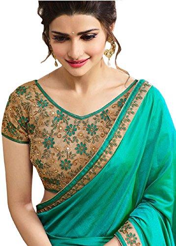 Ara Cruz Women's Satin Saree With Blouse Piece (Prachi Satin Green,Green,Free Size)