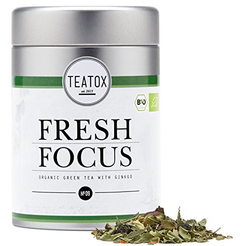 TEATOX Fresh Focus, Thé vert biologique avec ginkgo et ginseng (Boîte)
