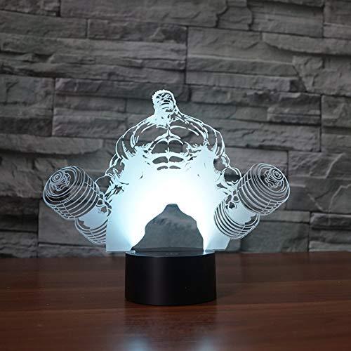 Wangshengchao Gewichtheben Hercules 3D - Lampe 7 Farbe führte Nachtlampen für Kinder Touch - LED USB - Baby - Nachtschlafen,Berühren Sie 7 Farben