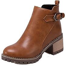 AgeeMi Shoes Donna Tacco a Blocco Zip Scarpe a Chiusa Inverno Polacchine