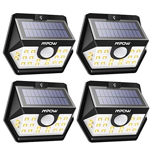 【Blanc Chaud】 Mpow 4 Pack 20 LED Lampe Solaire Etanche Détecteur de Mouvement Temps d'éclairage 30s, Spot Solaire Eclairage Exterieur pour Jardin, Maison, Garage, Cour, Mur, Escalier, Patio etc