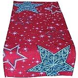 matches21 Weihnachtliche Tischläufer/Mitteldecke Sternen-Zauber rot mit Druck & Stick weiß & dunkelgrau 40x85 cm