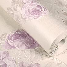 Vintage femenino flores ramo rollos de papel pintado floral de flores TRAIL papel para pared efecto de diseño 3d decoración de la casa Gorgeous alta calidad lujo moderno 3d papel pintado 10* 0.53m, Wallpaper only, Purple 58026