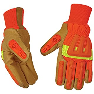 KINCO 1938KWA-XL Men's Impact Protection High Visibility Lined Pigskin Gloves, Safety, X-Large, Orange