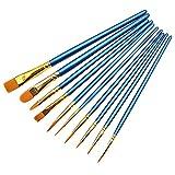 Liangchueng Lot de 10 pinceaux de peinture professionnels en nylon pour aquarelle, peinture à l'huile, parfait pour la peinture sur toile, céramique, argile, bois et modèle bleu...