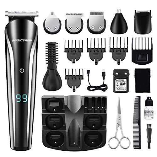 11 in 1 Bartschneider, MIGICSHOW Haarschneidemaschine Set Rasierer Herren Elektrisch Barttrimmer Haarschneider Haartrimmer für Bart Nasenhaare Kopf und Körper