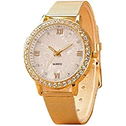 Tonsee Deluxe Women Ladies Casual Crystal Golden Plated Mesh Band Dress Wrist Watch