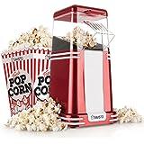 Savisto Vintage Retro Hot Air Popcorn Maker with 6 Popcorn Boxes & 2 Year Warranty - Enjoy Fresh Cinema Style Fat Free Popcorn at Home