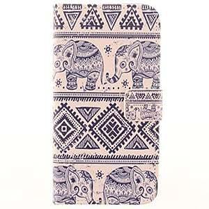 YF-Der Elefant-Muster PU-Leder-Kasten mit Ganzkörper-Card Slot für Samsung Galaxy i9600 S5