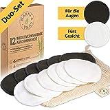 Marni&Luna® Waschbare Abschminkpads | 12 Nachhaltige Abschminktücher aus Bambus & Baumwolle | Große Aktivkohle Pads | Wattepads wiederverwendbar | Umweltfreundliche Gesichtsreinigung | Zero Waste