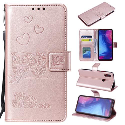 MOONESS Funda Xiaomi Redmi Note 7,Goldrose PU Cuero Flip Folio Multi-ángulo búho Carcasa [Magnético] [Soporte Plegable] [Ranuras para Tarjetas] para Xiaomi Redmi Note 7 (O-Goldrose)