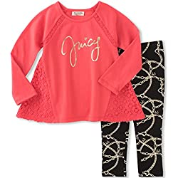 Juicy Couture Toddler Girls' Tunic Legging Set, Tea Berry/Black Pool, 3T