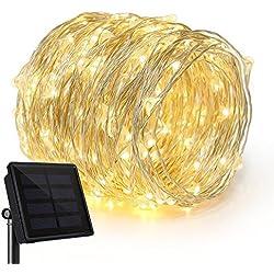 Rophie Luces Solares Cadena, Guirnalda de Luces 200 LEDs 22m Impermeable Iluminación al Aire Libre para Interior/Exterior Decorativas para Navidad Jardín Entrada Fiestas Boda Decoración, Blanco Cálido