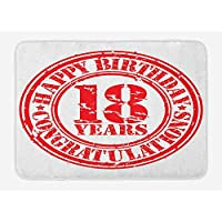 18th Birthday Bath Mat, Vintage Happy Birthday and Sweet Eighteen Stamp Icon Retro Image Print