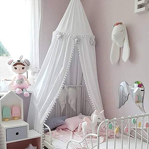 Wonder Space Prinzessin Pom Poms Baldachin, 240cm Bett Kuppel Betthimmel Moskitonetz aus Baumwolle, Insektenschutz Bettvorhang Zelt fürs Innen Schlafzimmer Dekoration Baby Kinder Kinderzimme, Weiß -
