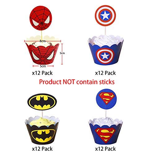 51UTWzfKjZL - 96 piezas de superhéroes Cupcake Envoltorios Toppers Decoraciones de mesa para pasteles Artículos de fiesta 4 estilos-Spiderman Superman Batman Capitán Fiesta de cumpleaños Favores de decoración