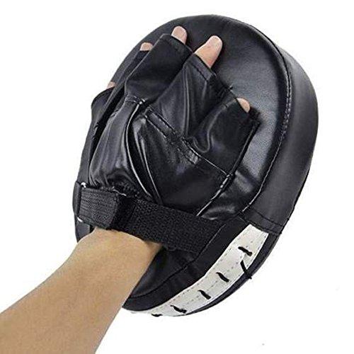Yosoo PU Pratzen Karate Boxen Pads Handpratzen Handschlagpolster Boxpads Schlagpolster Kickboxen Kampfsport Schlagkissen - ca. 24cm(L) x 20cm(W) x 5cm(T) (Schwarz)