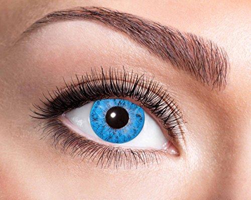 Natürliche, farbige Kontaktlinse hellblau, Jahreslinse, 14,5 mm ohne Dioptrin