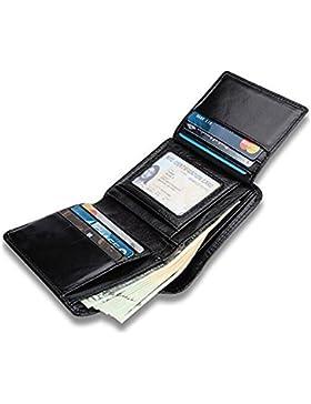 Billetera Para Hombre, Billetera de Cuero Genuino Lisa Suave de Alta Calidad Con 9 Tarjeteros Para Tarjetas de...