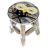 Simandra Holzhocker Kinderhocker Hocker Sitzhocker Fußbank Massivholz Schemel Stuhl mit Tiermotiv Deko weiß Farbe Eule