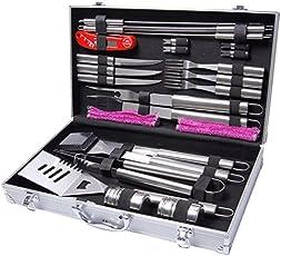 WolfWise 27 Stück Grillbesteck Set, Grillzubehör BBQ Werkzeug Set im Koffer, für Grillen/ Garten/ Feier, Edelstahl