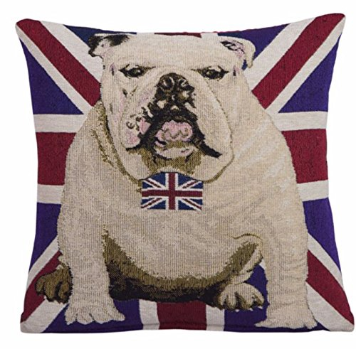 Bandera de Reino Unido EHC British Bulldog de perro de lazo decorativo para cojín