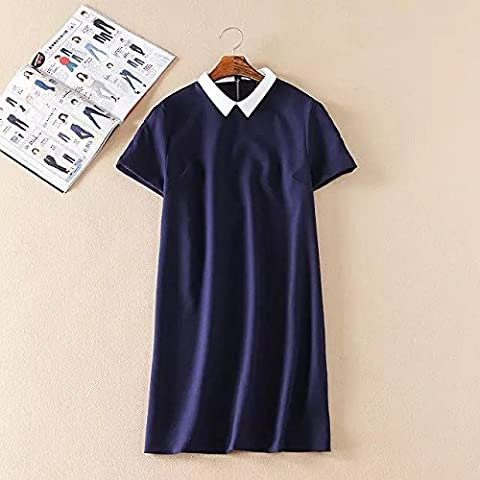 WJS-ClothingClothingEurope and the United States Navy Blue Dress Lapel dress dress skirt in summer,Picture color,XS