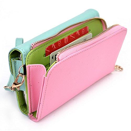 Kroo d'embrayage portefeuille avec dragonne et sangle bandoulière pour Asus ZenFone 5 Black and Orange Green and Pink