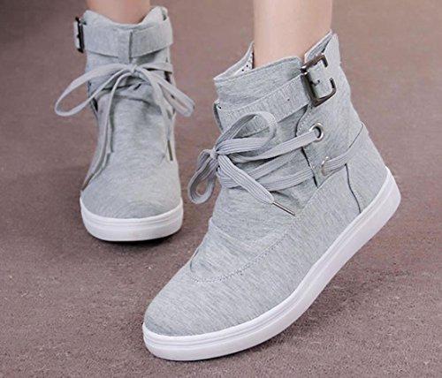 YCMDM Femmes Les Nouvelles Chaussures De Toile Chevalier Martin Bottes Lace Leisure Single Chaussures Grey
