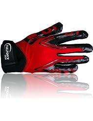 Full Force Titanium Lite Football américain Récepteur Gants, rouge, Taille S–XL