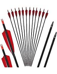 Toparchery Bogen und Pfeile 6er/12er Carbonpfeile für den Bogensport Naturfedern/Vanes 32 Zoll mit Pfeilspitzen geeignet für alle Recurves und Compoundbögen (Pures Carbon)