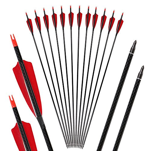 Toparchery 6er Carbonpfeile für den Bogensport Naturfedern/Vanes 32 Zoll mit Pfeilspitzen geeignet für alle Recurves und Compoundbögen (Pures Carbon)
