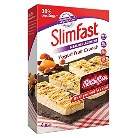 SlimFast Meal Replacement Bar Yogurt Fruit Crunch (4x Box of 4, Total 16 Bars) by SlimFast