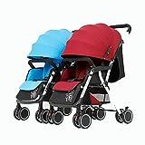 YXINY Kombikinderwagen Zwillinge Babywagen Kann Geteilt Und Gefaltet Werden Stoßfest Kann Sitzen Liegend Erstsemester Kinderwagen Baby Buggy ( Farbe : Blue Red )