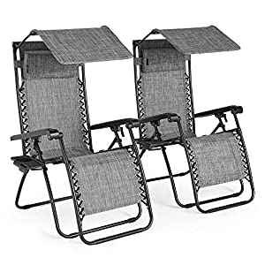 VonHaus Set of 2 Zero Gravity Chairs with Canopy