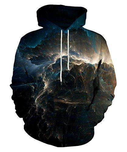 EOWJEED Unisex Realistic 3D Print Galaxy Pullover Kapuzen Sweatshirt Kapuzenpullis mit großen Taschen Medium