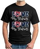 OM3® - Love My Pats II - T-Shirt | Herren | American Football Shirt | 3XL, Schwarz