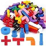 مكعبات بناء، مجموعة مكعبات أنبوبية، ألعاب أحاجي التجميع، مكعبات وأنابيب ذاتيه الصنع، مع مجموعة عجلات 72 قطعة متشابكة، مكعبات