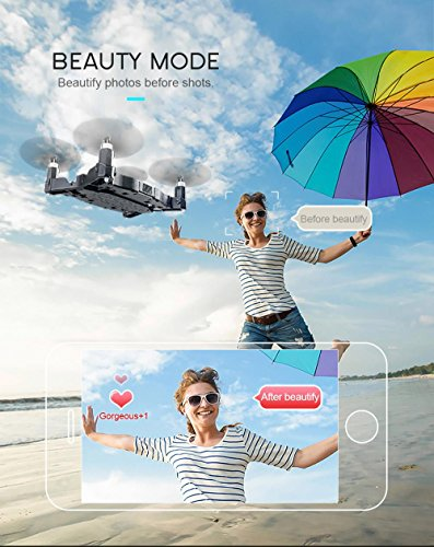 JJRC H49 SOL 0.95cm Ultradünne Auto Faltbare Selfie Drone 720P WIFI FPV mit Beauty Höhenhaltung Modus Kopfloser Modus RC Quadcopter RTF - Schwarz - 4