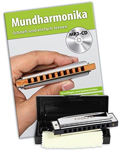 CASCHA Blues Mundharmonika Set für Anfänger, Harmonica spielen lernen, 10-Löcher, C-Dur, mit Buch, Etui und Pflegetuch