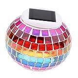 Homyl Solar LED Tischlampe mit buntem Disco-Lichteffekt, RGB Farbwechsel Kugelleuchte Disco-Kugel Dekoleuchte Wasserdicht für Haus Garten Party - Typ 1