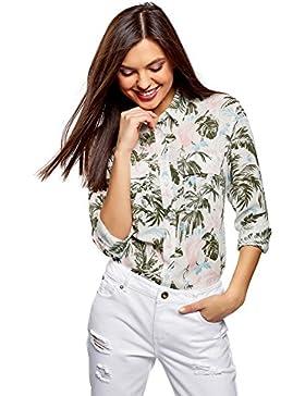 oodji Collection Mujer Blusa de Viscosa con Bolsillos EN el Pecho, Marfil, ES 44/XL