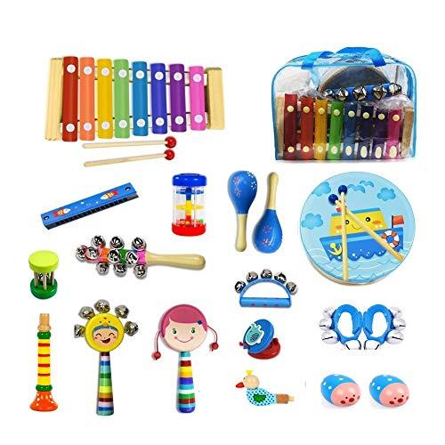 Kinder-Musikinstrumenten-Set mit Xylophon, 18-teiliges Musik-Spielzeug aus Holz für Kleinkinder und Vorschulkinder