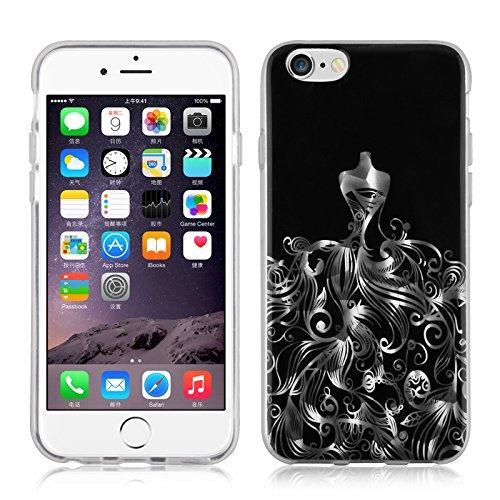 JAMMYLIZARD | Coque souple effet 3D pour iPhone 6 6s, écran 4.7 pouces, Motif baroque Noir et Argent NOIR & ARGENT- ROBE DE BAL