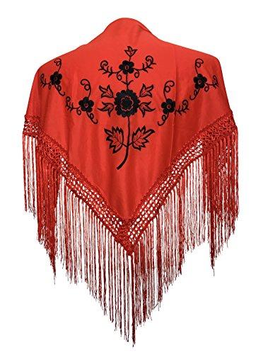 La Señorita Mantones bordados Flamenco Manton de Manila rojo negro Niños