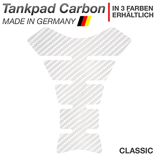 """Motoking Tankpad """"CARBON CLASSIC"""" Tankaufkleber, Tankschutz, Lackschutz, Aufkleber Pad für Motorrad Tank - in 3 Farben erhältlich - WEIß"""