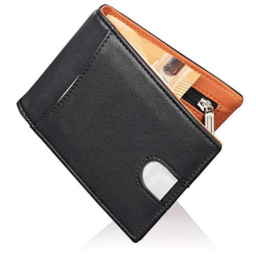DAMINIC Geldbörse/Kartenetui mit Geldklammer, Münzfach, 6 Kartenfächer + RFID Schutz für Herren