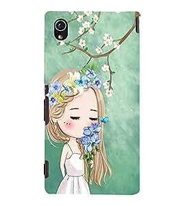 Fuson Premium Back Case Cover Cute girl in flowers With Black Background Degined For Sony Xperia M4 Aqua::Sony Xperia M4 Aqua Dual