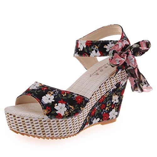 Sommer Schuhe,Resplend Frauen Vintage Plattform Keil High Heels Böhmische Blumen Adorn Schnalle...