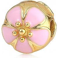 2PC * autentico Argento 925 placcato oro rosa dello smalto Cherry Blossom Charm clip branelli del tappo di blocco per ciondoli braccialetto europeo